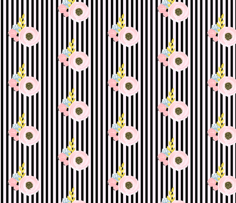 Single flower with stripes - black and light pink fabric by ajoyfulriot on Spoonflower - custom fabric