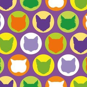 cat dots in hallowen purple
