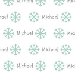 My Snowflakes- seafoam gray PERSONALIZED Michael