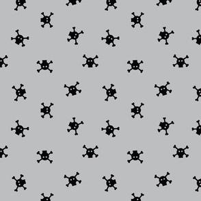 Bitty Skulls - small - lt grey