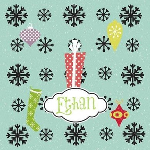 Snowflakes -Joy Snow Personalized Green