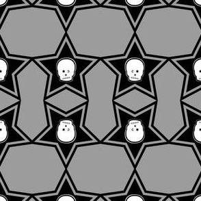 2x2 Mirror Punk White Skull in Black Stars