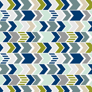 Navy Gray Green Chevron 90 deg