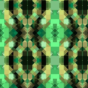 Green Black and Beige Pixellated Geometric