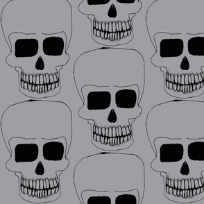 halloween skull grey