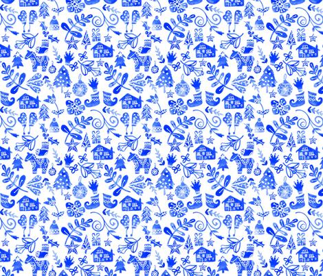Blue Christmas fabric by emeryallardsmith on Spoonflower - custom fabric