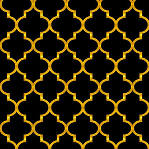 "Black and Gold Quatrefoil 4"" wide"