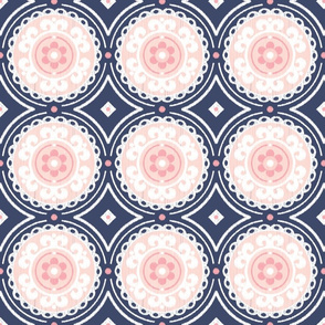 Navy and Pink Medallion
