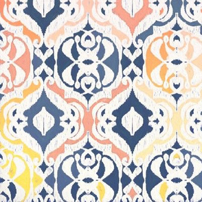 Tropical Ikat Damask - navy & coral