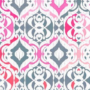 Tropical Ikat Damask - fuchsia pink and grey
