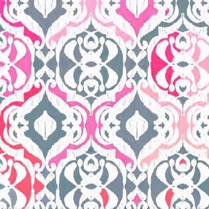Tropical Ikat Damask - fuchsia pink and grey