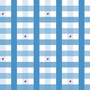 Blue Heart Gingham