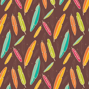 Colorful bohemian feathers, hand drawn