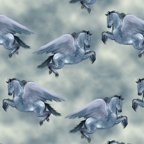 Blue Roan Pegasus fabric by eclectic_house on Spoonflower - custom fabric