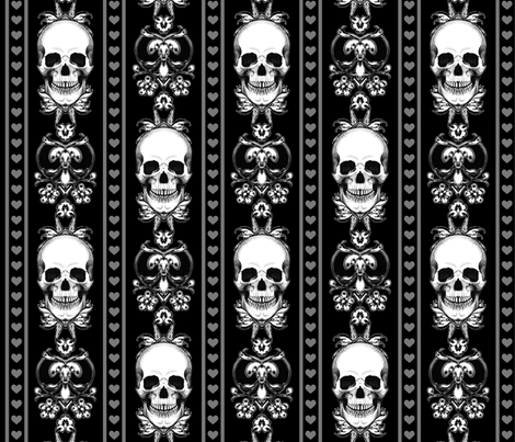 Baroque Skull Stripe Gothic Black fabric by ophelia on Spoonflower - custom fabric