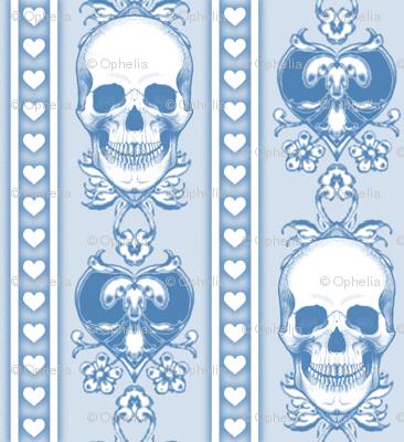 Baroque Skull Stripe Light  Blue