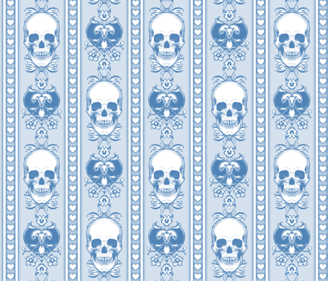 Baroque Skull Stripe Light  Blue fabric by ophelia on Spoonflower - custom fabric