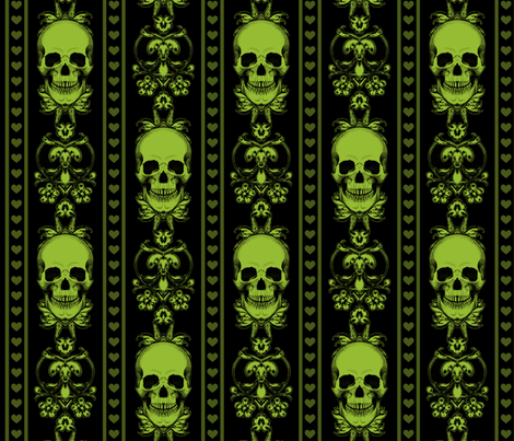 Baroque Skull Stripe Green Black fabric by ophelia on Spoonflower - custom fabric