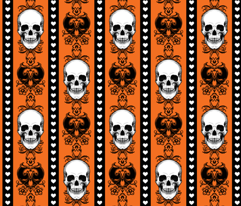 Baroque Skull Stripe Halloween Orange fabric by ophelia on Spoonflower - custom fabric