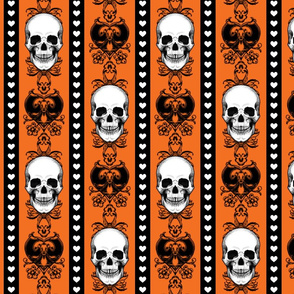 Baroque Skull Stripe Halloween Orange