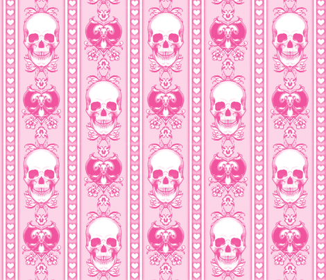 Baroque Skull Stripe Sweet Pink fabric by ophelia on Spoonflower - custom fabric