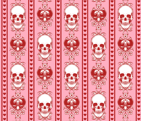 Baroque Skull Stripe Valentine Pink fabric by ophelia on Spoonflower - custom fabric
