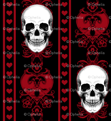 Baroque Skull Stripe Red Black