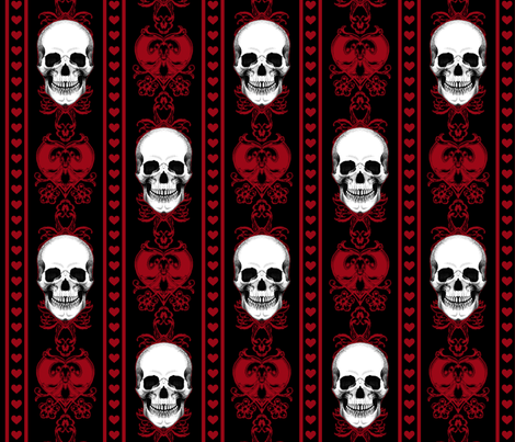 Baroque Skull Stripe Red Black fabric by ophelia on Spoonflower - custom fabric