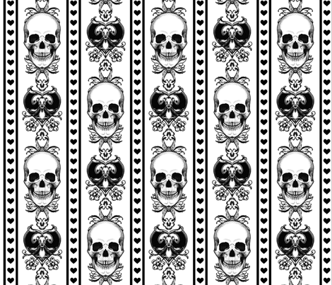Baroque Skull Stripe Black/White fabric by ophelia on Spoonflower - custom fabric