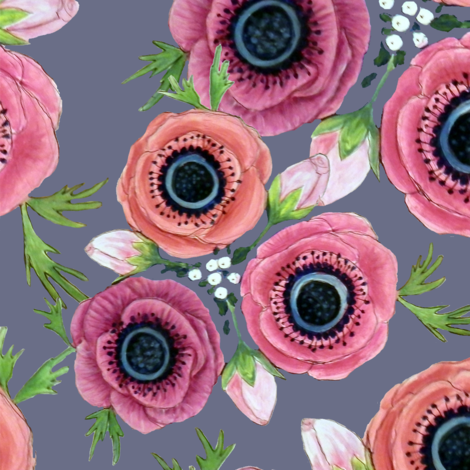 Watercolor Floral Anemone //  Eternal Flower Garden child / Anemone fabric by magentarosedesigns on Spoonflower - custom fabric