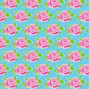 Watercolor rose MINI - ocean