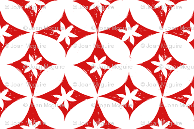 Block print red/white petals