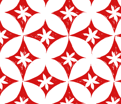 Block print red/white petals fabric by joan_mcguire on Spoonflower - custom fabric
