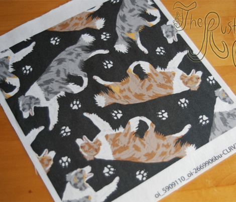 Trotting Border Collies and paw prints B - black