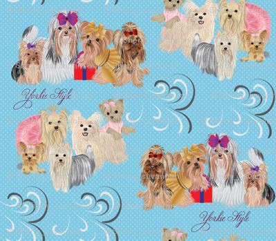 Yorkies 9 different yorkies - Style - Blue  look for the Pink too!
