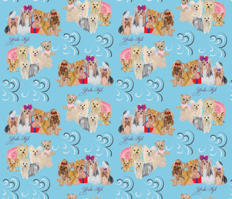 Yorkies 9 different yorkies - Style - Blue  look for the Pink too! fabric by sherry-savannah on Spoonflower - custom fabric