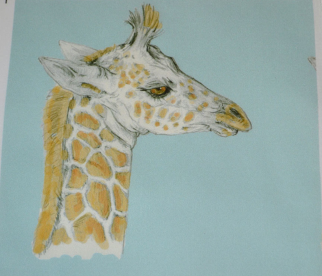 Custom Baby Giraffe, Antiqued