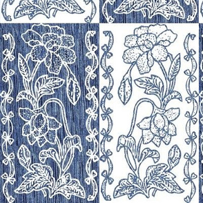 vertical-floral-border-textured-blue and white counterchange