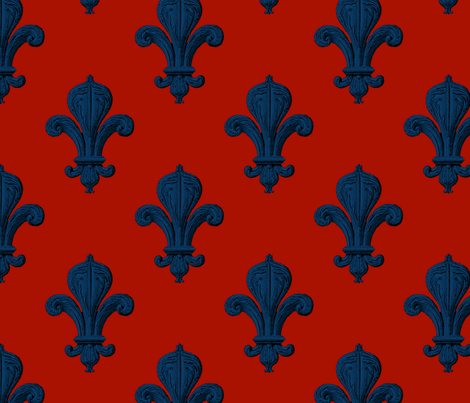 Fleur~de~Lys ~ Lonely Angel on Turkey Red  fabric by peacoquettedesigns on Spoonflower - custom fabric