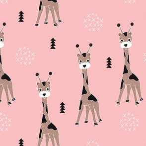 Adorable little baby giraffe cute kids zoo jungle animals illustration geometric scandinavian style print in pink