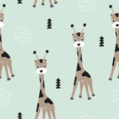 Adorable little baby giraffe cute kids zoo jungle animals illustration geometric scandinavian style print in mint
