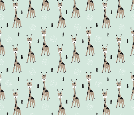 Adorable little baby giraffe cute kids zoo jungle animals illustration geometric scandinavian style print in mint fabric by littlesmilemakers on Spoonflower - custom fabric