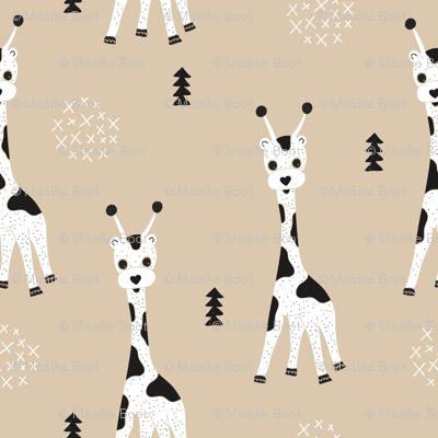 Adorable little baby giraffe cute kids zoo jungle animals illustration geometric scandinavian style print in gender neutral white and beige