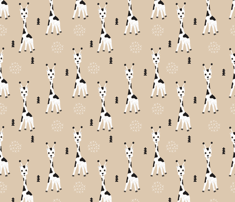 Adorable little baby giraffe cute kids zoo jungle animals illustration geometric scandinavian style print in gender neutral white and beige fabric by littlesmilemakers on Spoonflower - custom fabric