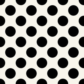 Black + off-white, 1-inch polka dots by Su_G