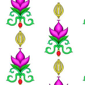 Flower Damask 2- Fuchsia