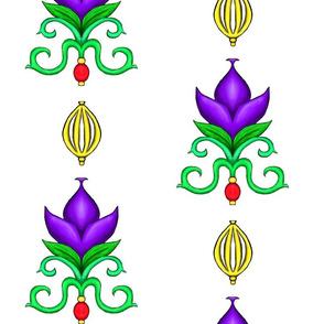 Flower Damask 2- Purple