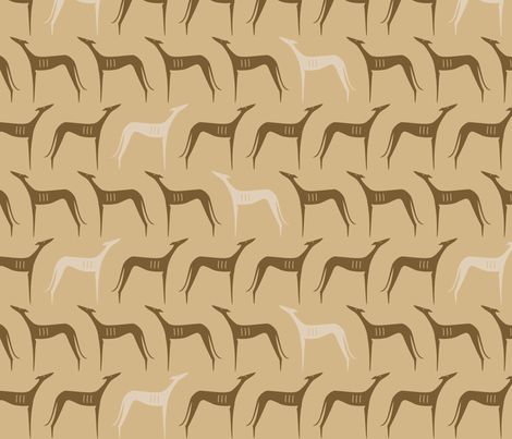 sighthounds clear brown fabric by lobitos on Spoonflower - custom fabric