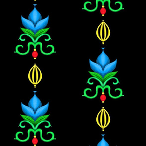 Flower Damask 1- Blue