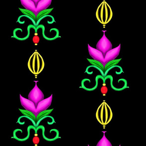 Flower Damask 1- Fuchsia